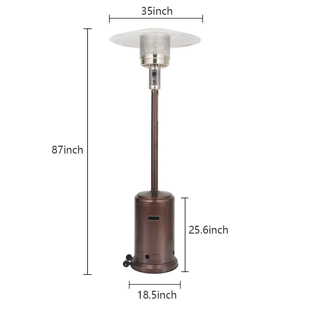 UPHA 46000 BTU Commercial Bronze Outdoor Patio Heater with Sandbox and Wheels, 87-inch