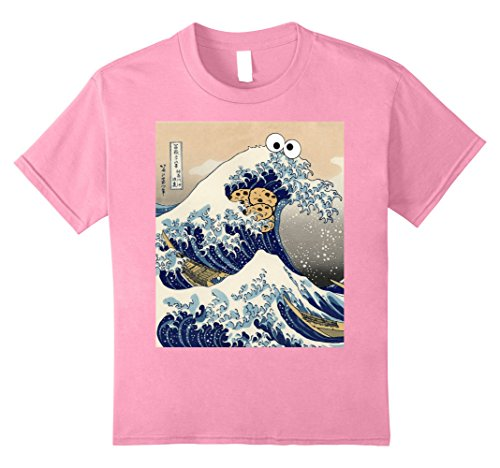 Kids Funny Japanese Cookie Great Wave off Kanagawa T-Shirt 12 (Pink Cookie Monster Costume)