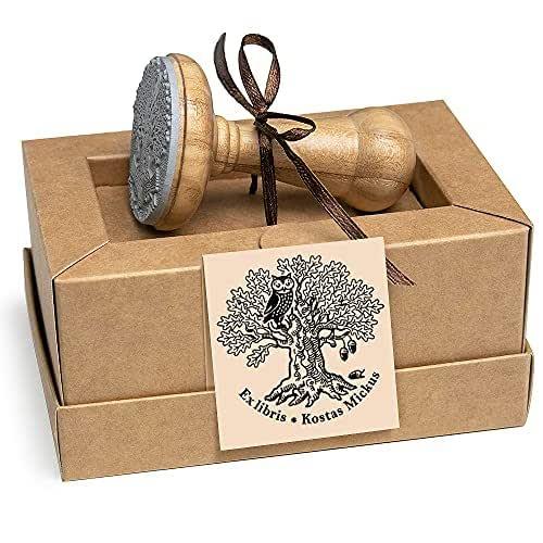 Sellos Personalizados, Ex libris, Búho Pájaro Sabio Roble Árbol Hojas Bellotas, Madera Diámetro 40mm, Caja Regalo Especial