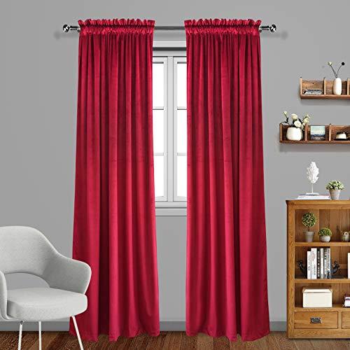 Eamior Living Room Blackout Velvet Curtains - Super Soft Dutch Velvet Rod Pocket Drapes Sound Reducing Heavy Solid Panels (2 Panels, 84