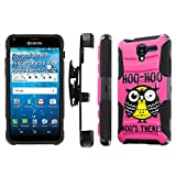 Kyocera [Hydro View] [Hydro Reach] Armor Case [SlickCandy] [Black/Black] Heavy Duty Defender [Holster] [Kick Stand] Phone Case - [Hoo is There Owl] for Kyocera [Hydro View/Reach]