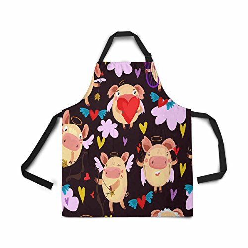 InterestPrint Adjustable Bib Apron for Women Men Girls Chef with Pockets, Romantic Cupid Heart Arrow Novelty Kitchen Apron for Cooking Baking Gardening Pet Grooming Cleaning