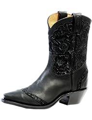 Boulet Womens Art Barocco Calf Split Short Cowgirl Boot Snip Toe - 4636