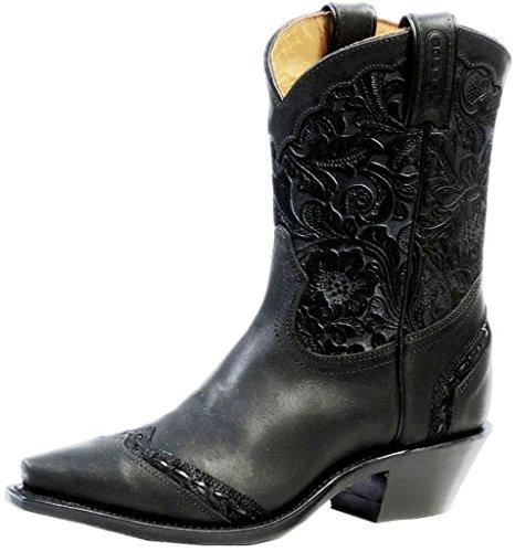 Boulet Donna Art Barocco Vitello Split Short Cowgirl Boot Snip Toe - 4636 Nero