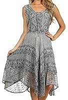 Sakkas Sundara Stonewashed Rayon Embroidered Mid Length Dress