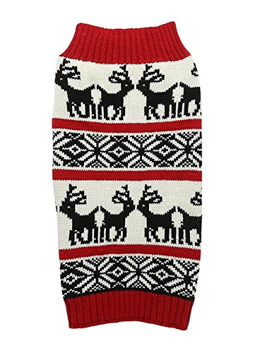 Ugly Vintage Knit Xmas Reindeer Holiday Festive Dog Sweater for Large Dogs, X-Large (XL) Size by Lanyar
