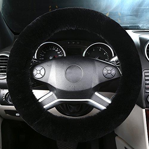 OGLAND Natural Fur Wool Sheepskin car Steering Wheel Cover,Protector for Universal Steering Wheel 35CM-42CM, Anti-Slip,Comforting and Luxurious, Soft Texture (Black)