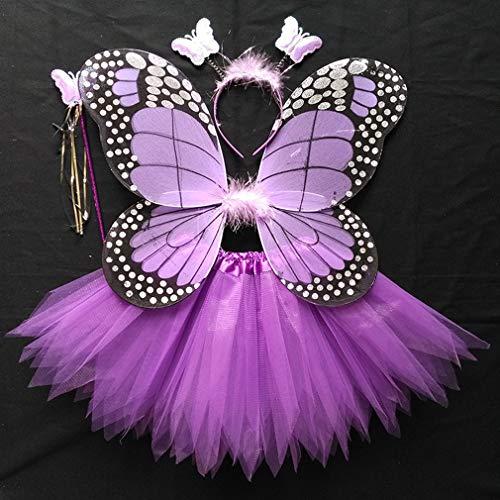 Zhxinashu Filles Aile De Papillon Costumes D'halloween Costumée 4 Pièces Violet