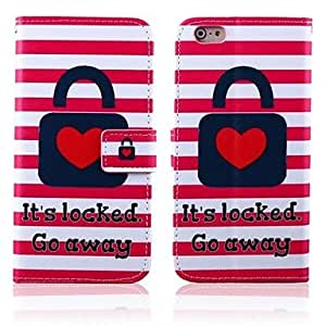 QJM Red Heart Lock Pattern Full Body Case with Stand for iPhone 6