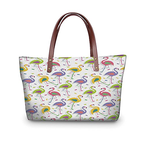 Design the fashion for you Waterproof Women Casual Handbag Tote Bags,Flamingo Decor,Colorful Retro Vintage 8os Flamingo Patterns in Polka Dot Design Checked Background,Multi.