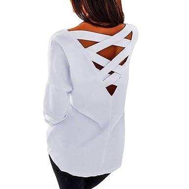 Sudadera Holgada para Mujer, Espalda en V, Espalda Cruzada, Blusa Suelta, Lisa, sin Espalda, Camiseta Tirante, Talla Grande: Amazon.es: Jardín