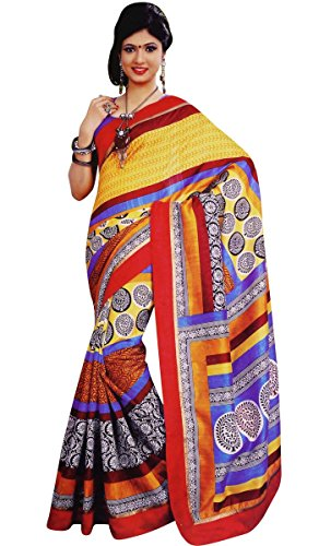 [Art Silk Sari With Blouse Unstitched Floral Printed Saree Indian Costume] (Bollywood Costume Party)