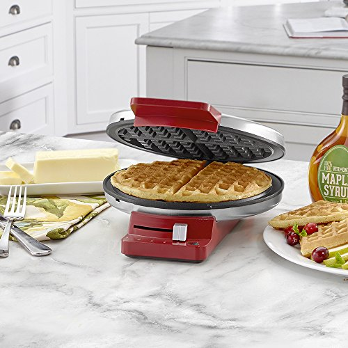 Cuisinart WMR-CAR Round Classic Waffle Maker, Stainless Steel/Red by Cuisinart (Image #1)