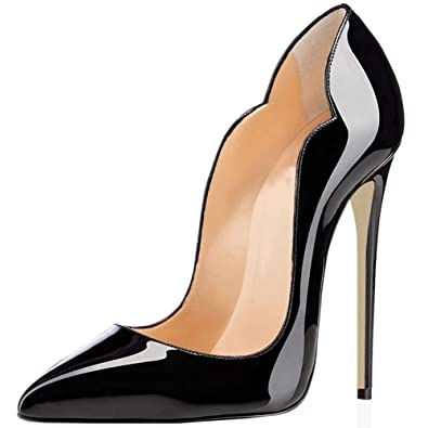 e63a0e8e97 Comfity Stiletto Pumps Heel Pointed Shoes for Women, Sexy All Patent  Leather Suede Pump High-Heeled Basic Shoe, 12CM Thick Elegant Wedding Party  Queen ...