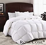 ROSECOSE Luxurious Goose Down Comforter Duvet Insert All Seasons Lightweight Solid White Hypo-allergenic