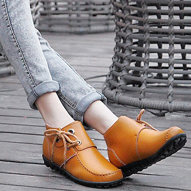 Winter Heel Boots Ankle CN39 Snow RTRY Casual Outdoor US8 Lace Boots Leather Up Fall Bootie Fashion Women'S EU39 Nappa UK6 Flat Boots For Shoes Boots Booties qnnxFZa