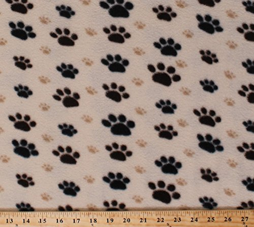 Fleece Large Black Paws with Small Tan Paws Paw Prints Dogs Pets Animals Fleece Fabric Print by the Yard 32438-10m-pawtan Large Paw Print Fleece