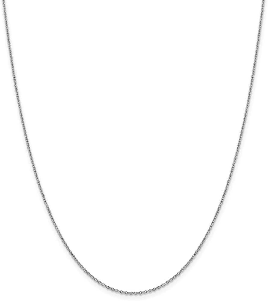 14k White Gold 1.40mm Solid Polished Cable Chain Necklace