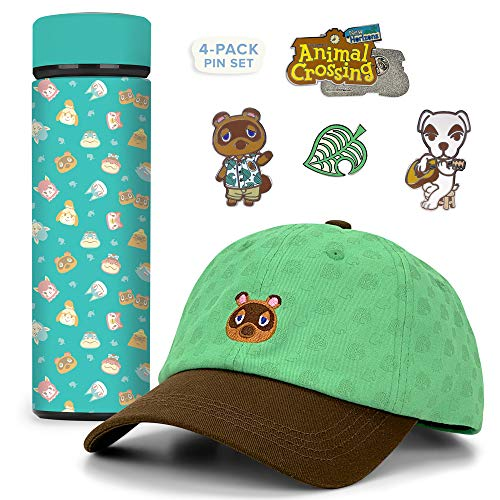 Controller Gear Animal Crossing Teal Icons Stainless Steel Water Bottle, Tom Nook Hat, & Lapel Pin Set [3 Pack] Animal Crossing Merchandise – Not Machine Specific