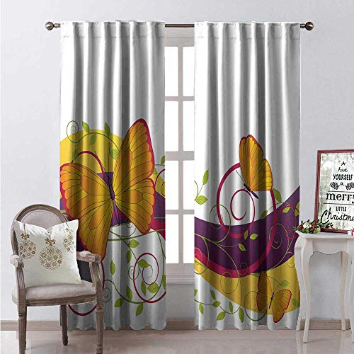 Hengshu Scroll Window Curtain Fabric Ornamental Composition Butterflies and Curved Stripes Summer Season Design Drapes for Living Room W84 x L84 Multicolor
