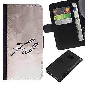 All Phone Most Case / Oferta Especial Cáscara Funda de cuero Monedero Cubierta de proteccion Caso / Wallet Case for HTC One M7 // Feel Calligraphy Paper Handwritten Note Ink