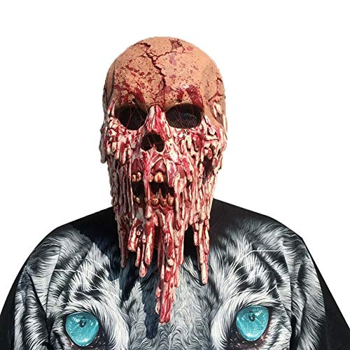 Halloween Creepy Costume Latex Ghostface Mask Costume Props Scary Creepy Horror Mask for Masquerade Halloween Party