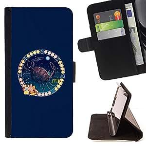 BullDog Case - FOR/Samsung Galaxy Note 3 III / - / ZODIAC CANCER /- Monedero de cuero de la PU Llevar cubierta de la caja con el ID Credit Card Slots Flip funda de cuer