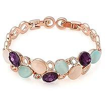 Kemstone Rose Gold Created Amethyst Gemstone Cats Eye Stone Tennis Bracelet,6.5