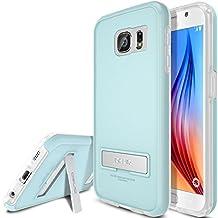 Galaxy S6 Case, OBLIQ [Skyline Advance][White Gray] Kickstand Thin Bumper Soft Fit Dual Layered Heavy Duty Hard Protection Hybrid Cover