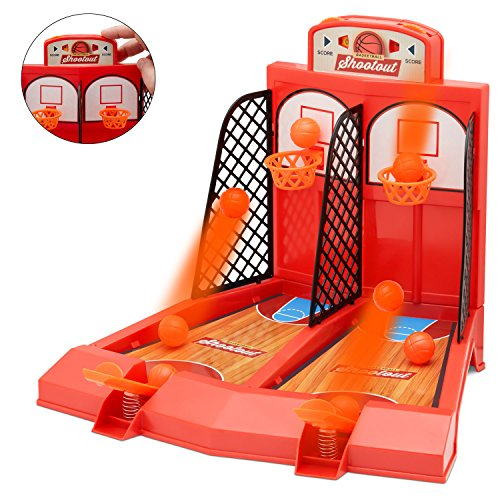Perfect Life Ideas One or Two Player Desktop Basketball Game Classic Arcade Games Basket Ball Shootout Table Top Toy -