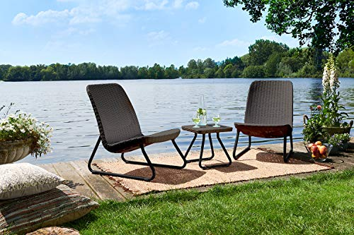 Keter Rio 3 Pc All Weather Outdoor Patio Garden Conversation Chair & Table Set Furniture, Brown by Keter (Image #4)'