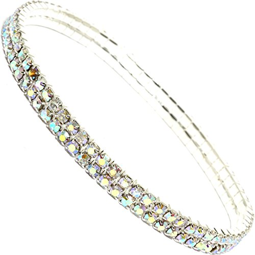 (AnsonsImages Stretch Anklet Bracelet Double Line Aurora Borealis Colored Rhinestones )