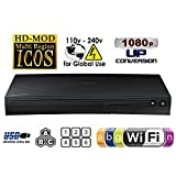 "SAMSUNG BDF-5700 (Compact 12W"" x 2H"" x 8D"") WI-FI All Zone Multi Region DVD Blu ray Player - 100~240V 50/60Hz, 1 USB, 1 HDMI, 1 COAX, 1 ETHERNET + 6 Feet HDMI Cable Bundle"