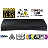 SAMSUNG BDJ-5700 (Compact 12W x 2H x 8D) WI-FI All Zone Multi Region DVD Blu ray Player - 100~240V 50/60Hz, 1 USB, 1 HDMI, 1 COAX, 1 ETHERNET + 6 Feet HDMI Cable Bundle