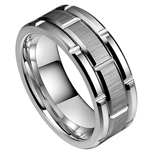 DOUX 8mm Mens White Tungsten Carbide Ring Brick Pattern Brushed Center Alternative Grooves Wedding Band Comfort Fit High Polished(8.5)