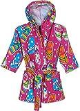 Splish Splash & Me Girls beach Bath Flip Flop Sandals Hooded Robe Cover Up, Size 5/6