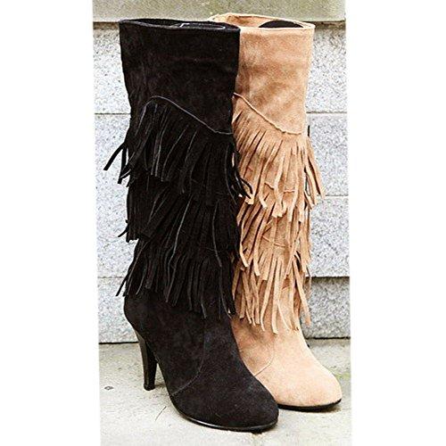 Zapatos Black Invierno Mujer Aguja Flecos Clasico de Botas Zanpa Tacon Largas q7w6E