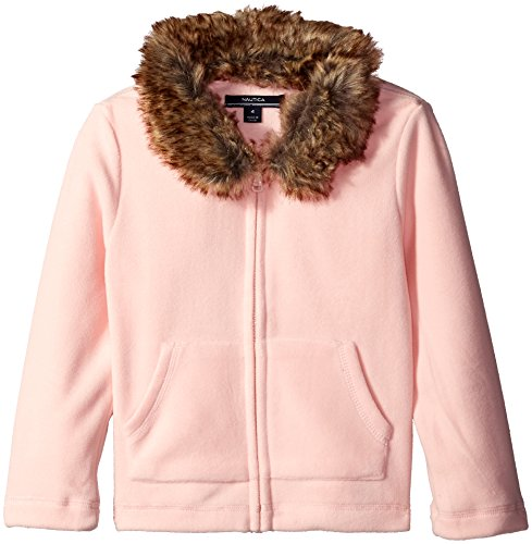 Nautica Big Girls Fleece Jacket with Removable Faux Fur Collar, Pale Pink, 7 by Nautica