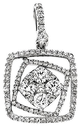 Diamond 14k Square Pendant - 4