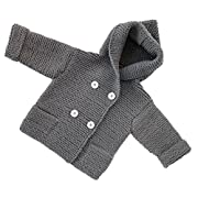 Shop the Look Memela(TM) NEW Fall/Winter Unisex Baby Organic Snap Front Reversible Sweater Hooded 0-5 yrs (0-2 yrs, Gray)