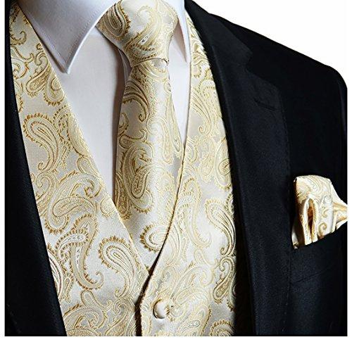 Champagne Paisley Tuxedo Vest Set