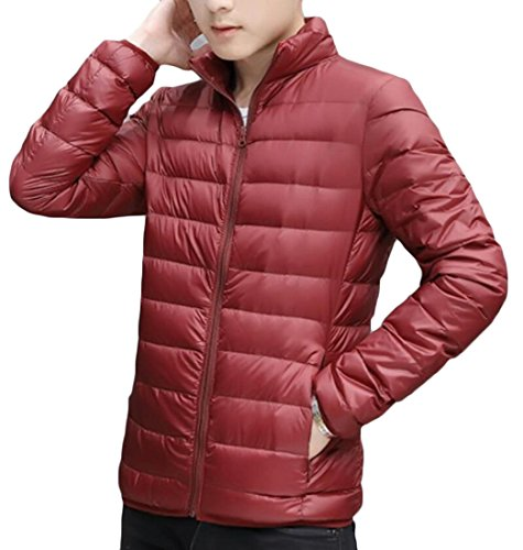 M&S&W Men's Winter Light Packable Ultra Puffer Down Coats Wine Red