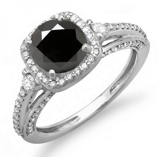2.10 Carat (ctw) 14K Round Black & White Diamond Engagement Halo Bridal Ring, White Gold, Size 7