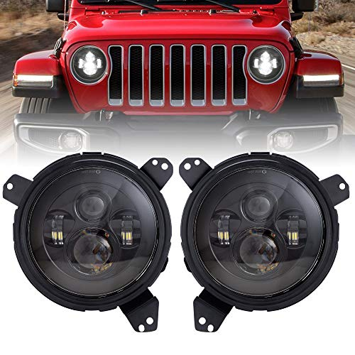 Switch Omni Directional (Audexen 7 Inch Round Led Headlight High Low Beam Headlamp + Omni-directional Adjust Adapter Ring Brackets for Jeep Wrangler JL 2018-2019)