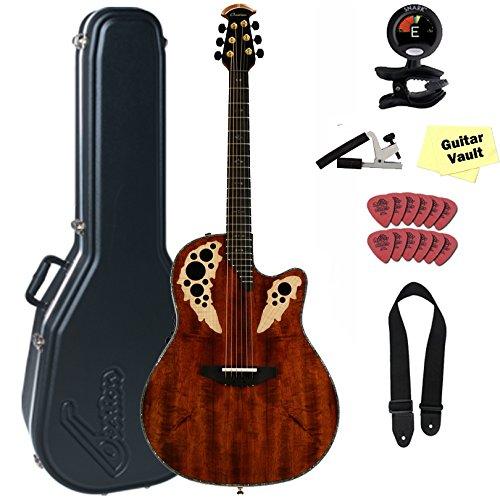 Ovation C2078AXP-KOA Elite Plus Contour Koa guitarVault Package with Case and Accessory Pack