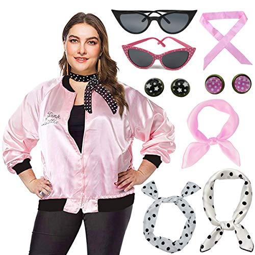 - Plus Size Pink Lady Jacket with Neck Scarf Women Halloween Costume Fancy Dress (3XL, Pink)