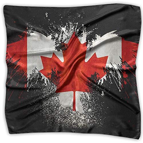 Flag Of Canada Eagle Paint Splatter Women Large Square Satin Head Scarves Silk Like Neck Bandana