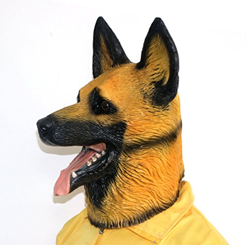 Novelty Halloween Costume Party Latex Dogl Head Mask,German Shepherd,Dog Mask, Animal Head Latex Masks, Halloween Mask, Party Cosplay ()