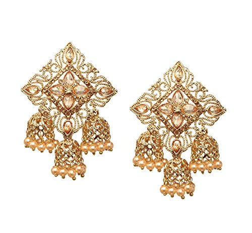 Bindhani Fashion Jewellery Ethnic Traditional Bridal Bride Wedding Bridesmaid Gold Plated Kundan Faux Diamond Stone Pearl Drop Jhumka Jhumki Indian Bollywood Earrings Jewelry For Women