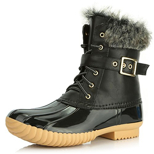DailyShoes Womens Snow Booties Up Ankle Buckle Duck Padded Mud Rubber Rain Boots